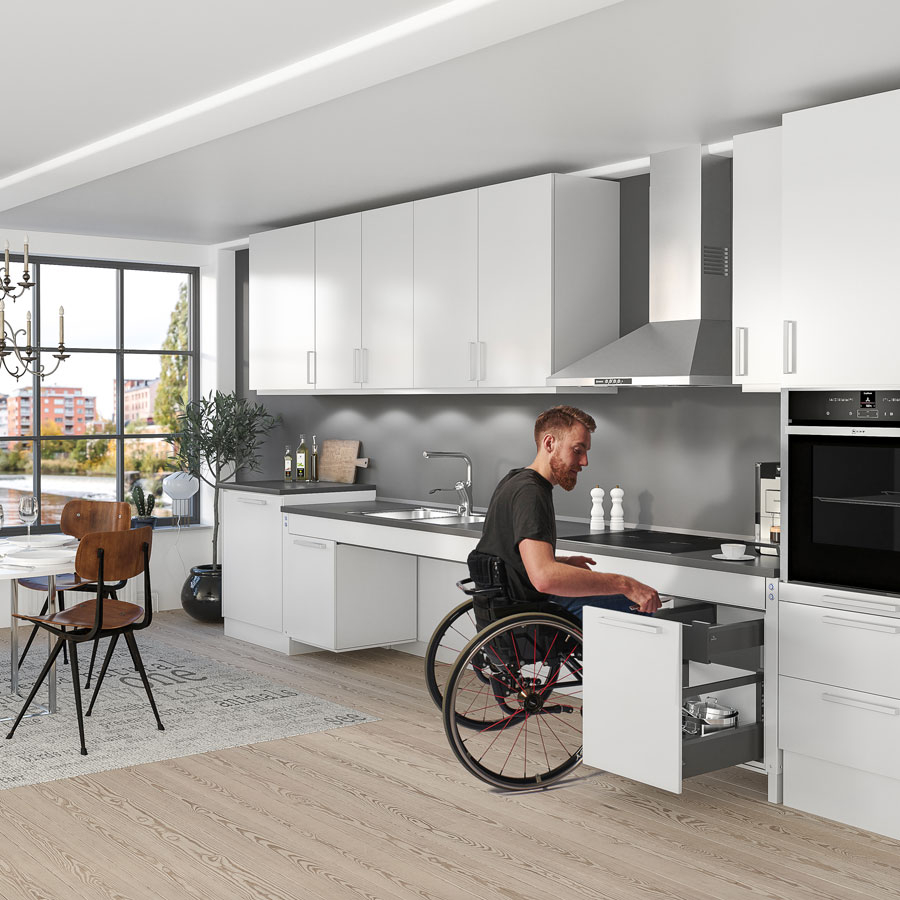 Height adjustable kitchen systems
