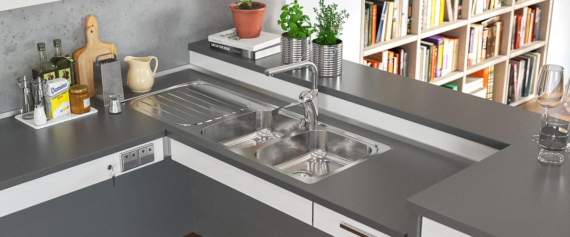 Flache Einbauspülen für barrierefreie Küchen