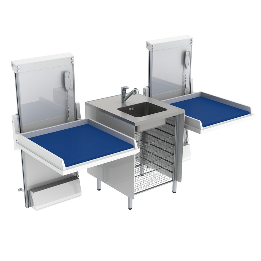 Changing table 334 - Combination 2, washing bench center, 232x80 cm