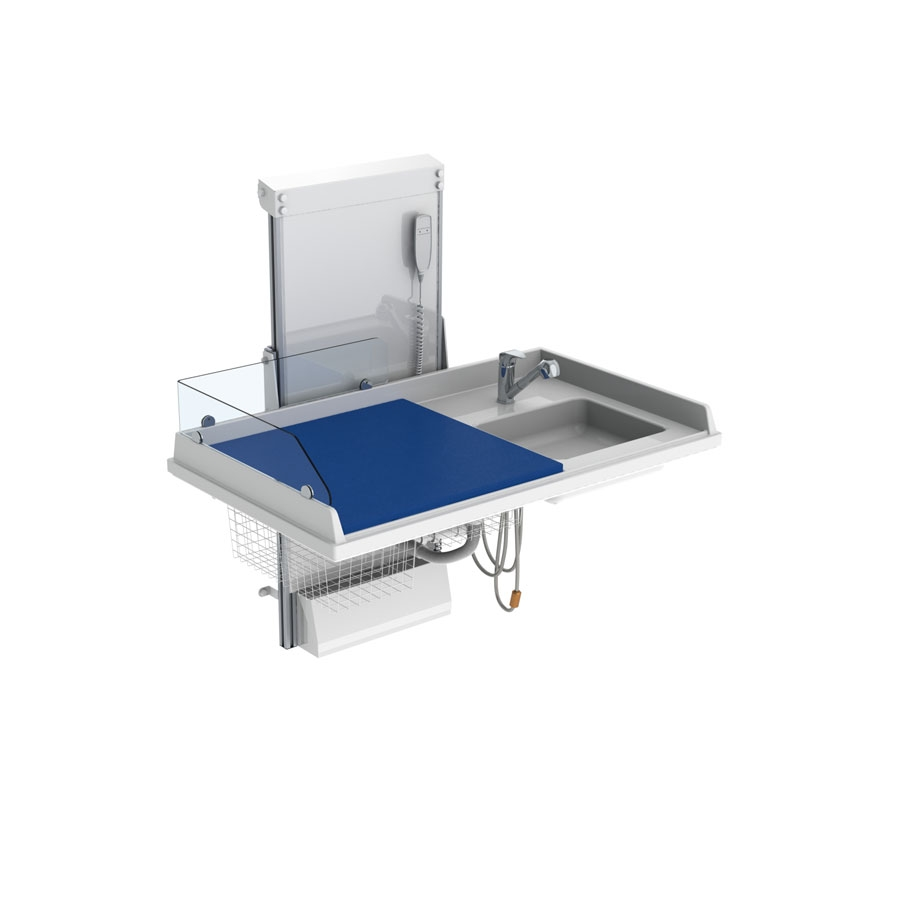 Changing table 334 laundry sink right - Border height 20 cm, Incl. Mixer tap, 140x80 cm