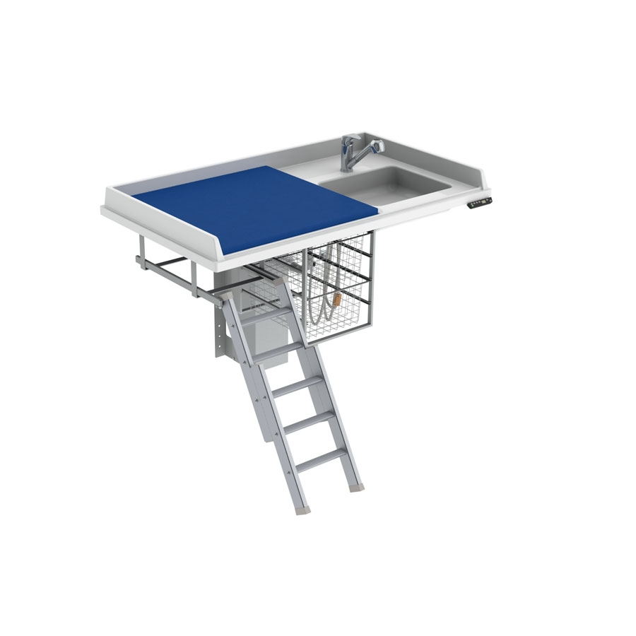 Changing table 335 laundry sink right - Ladder left, 140x80 cm