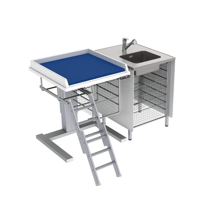 Changing table 333 - Combination 1, washing bench right, 147x80 cm