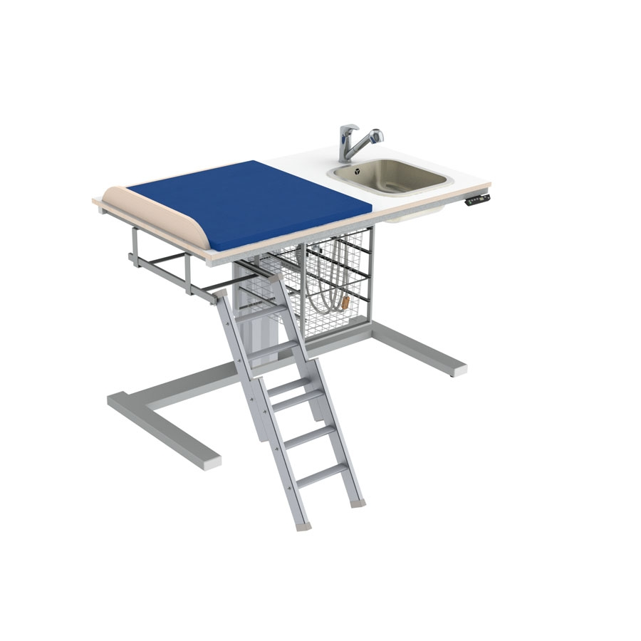 Changing table 332 laundry sink right - Ladder left, 140x80 cm