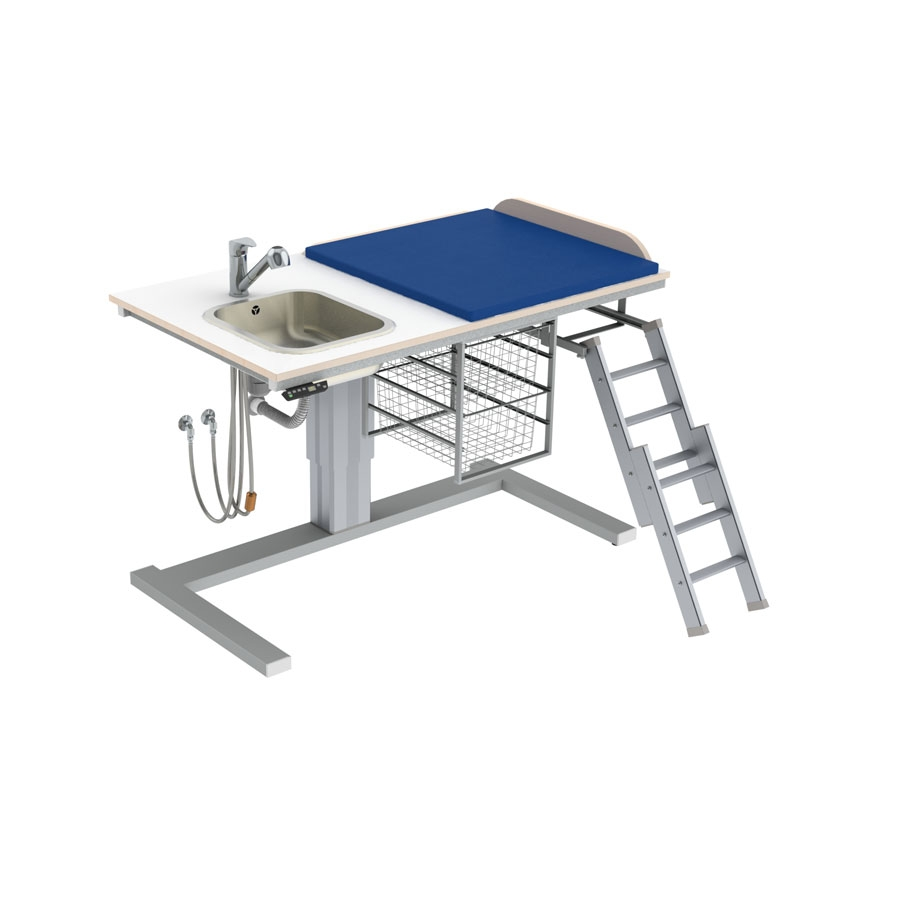 Changing table 332 laundry sink left - Ladder right, 140x80 cm