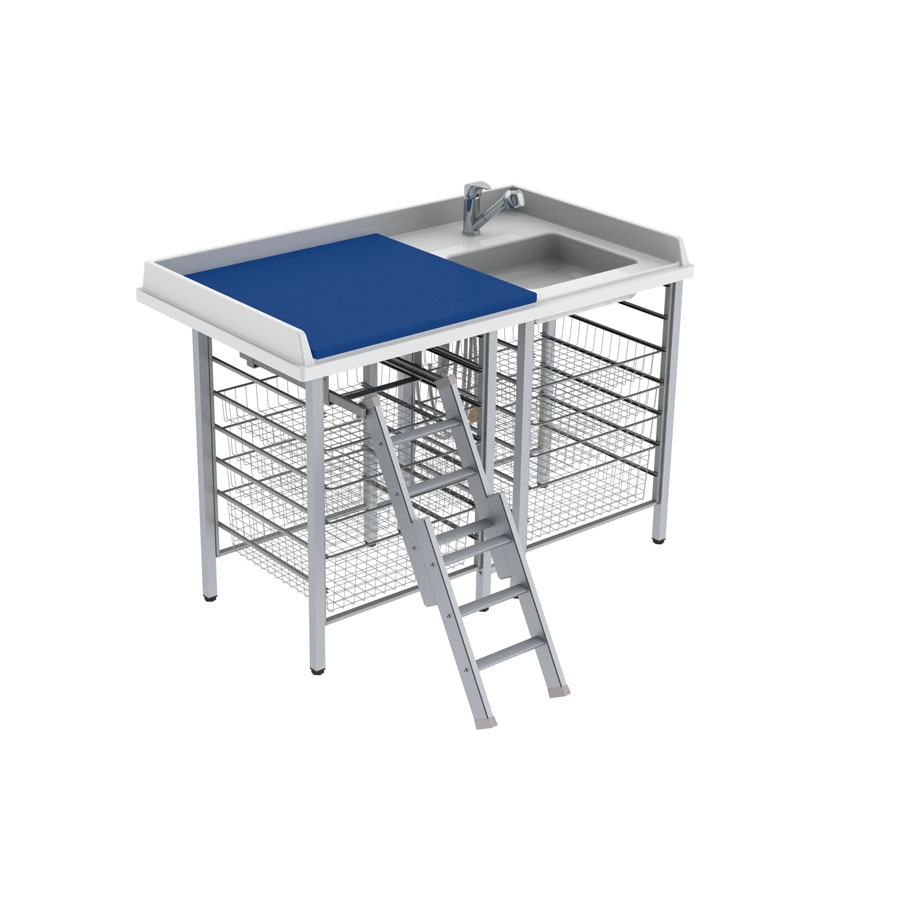 Changing table 327 laundry sink right - Ladder left, 140x80 cm