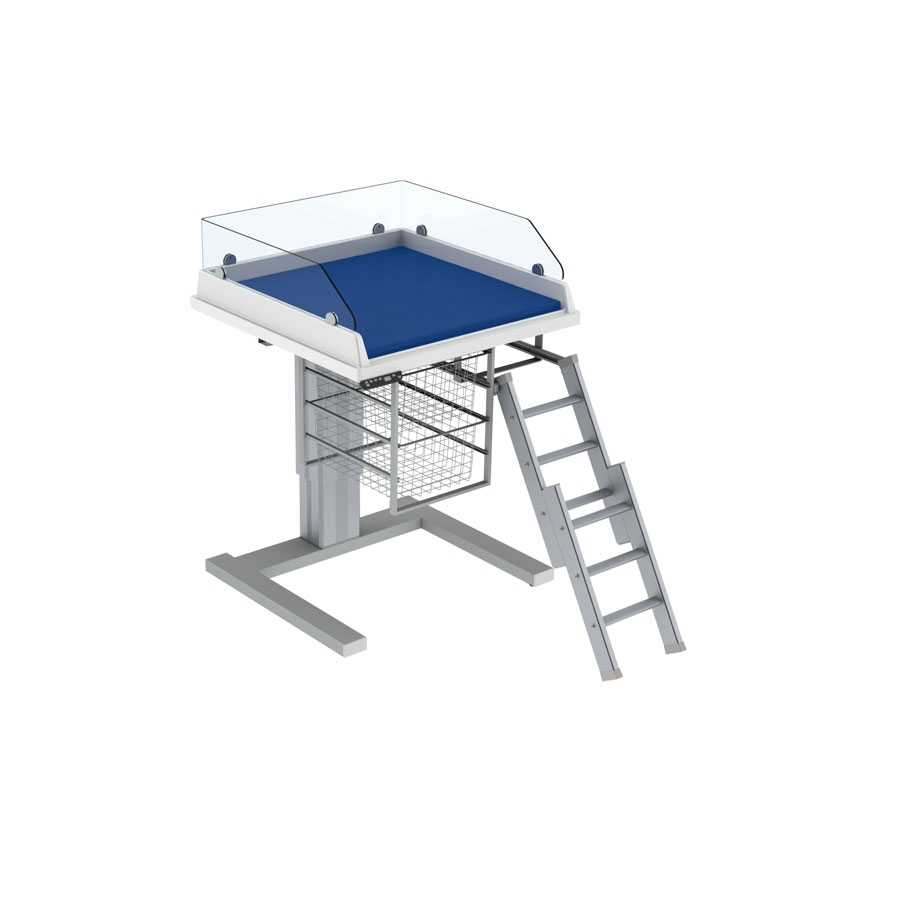 Changing table 333 - Ladder right, border height 20 cm, 80x80 cm