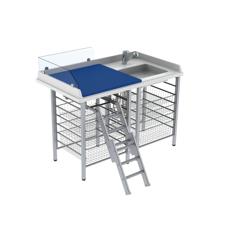 Changing table 327 laundry sink right - Ladder left, border height 20 cm, 140x80 cm