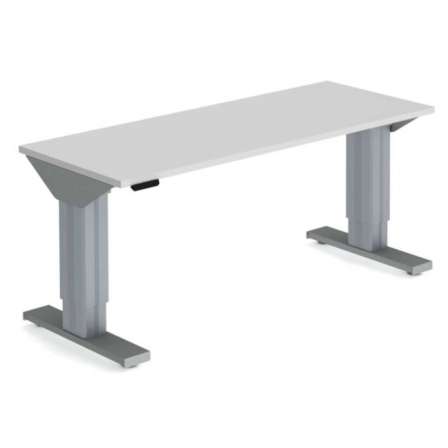 Motor-driven work table with table top in laminate, 80 cm depth