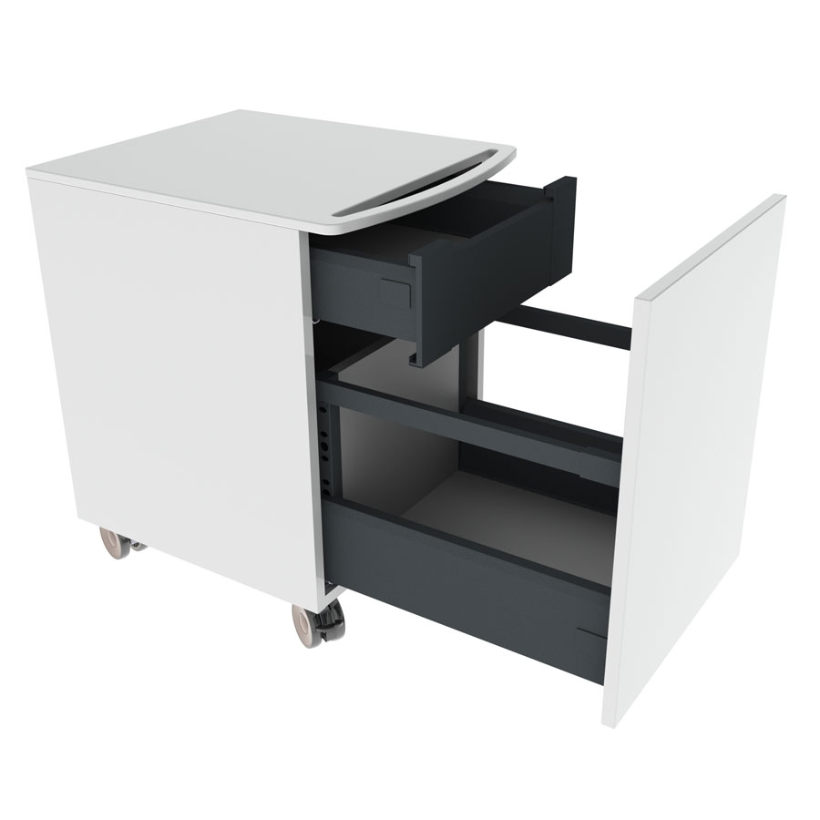 <b>Minibänkskåp på hjul med låda och innerlåda</b>