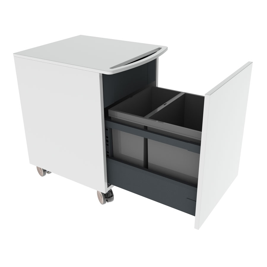 Mini cabinet on wheels with waste sorting and inner drawer, fully extendable with soft-close