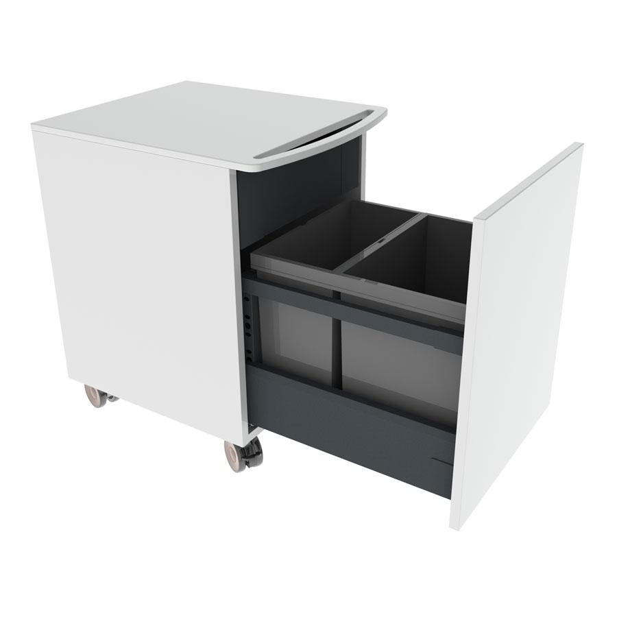 <b>Minibänkskåp på hjul inkl. avfallssortering och innerlåda</b>