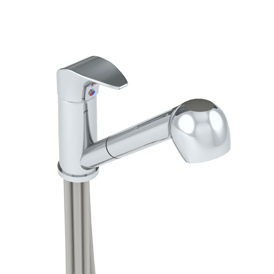 <b>Mixer tap with telescopic hand-shower</b>