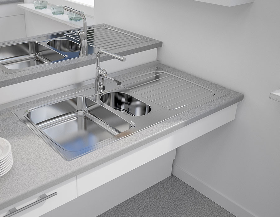 Inset Kitchen Sink Stainless Steel Es25 97 1 Cm Inset Sinks With Shallow Bowl Sinks Taps Granberg Interior Ab Sweden