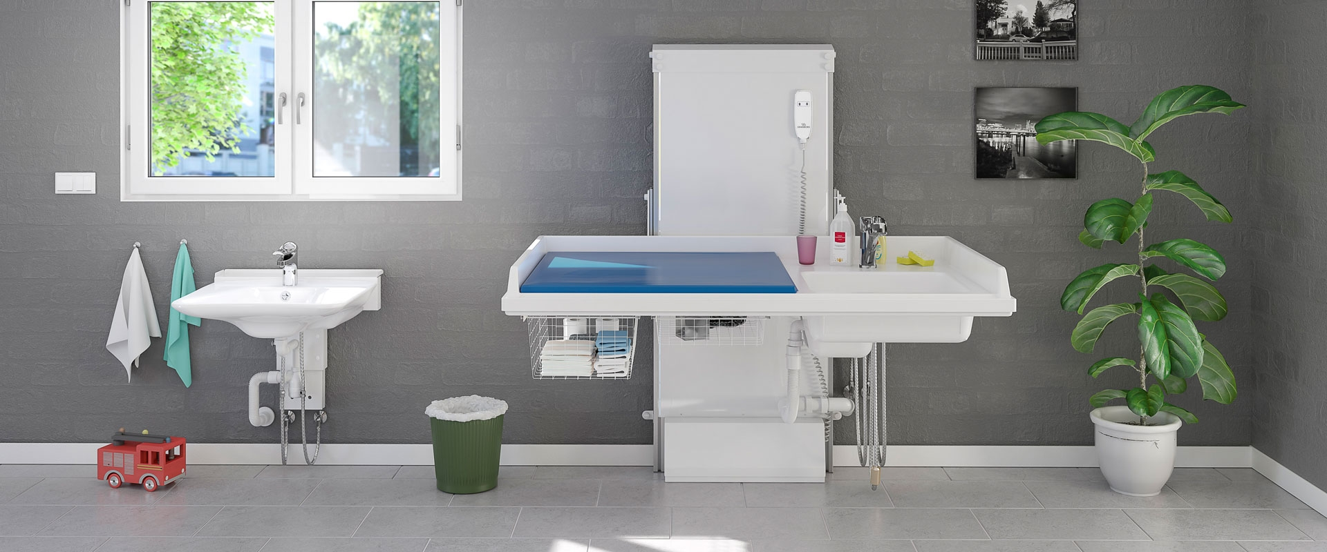 Baby changing table 334 - laundry sink