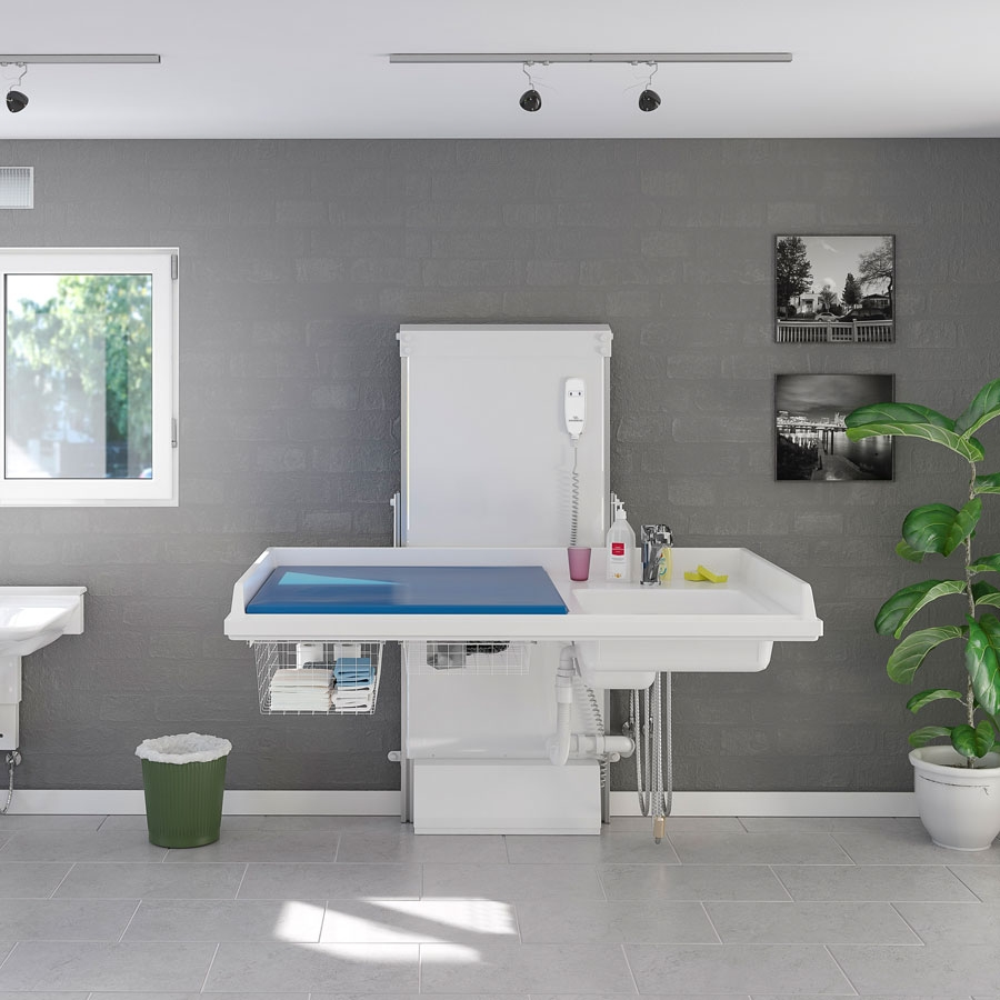 Changing table 334, height adjustable - laundry sink