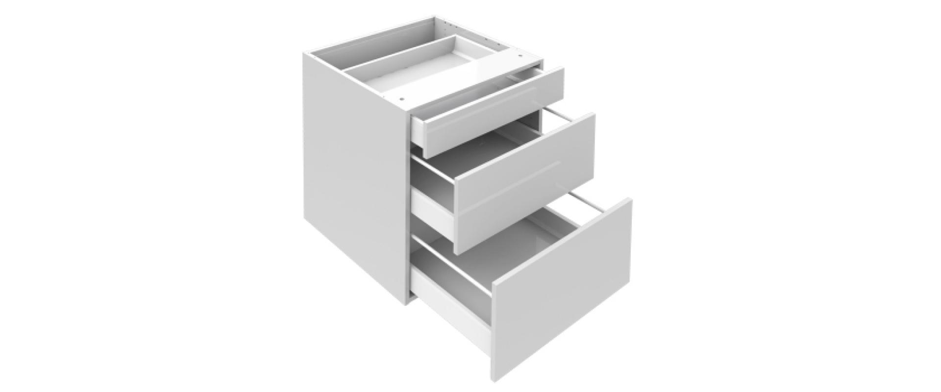 Grytskåp med 3 lådor