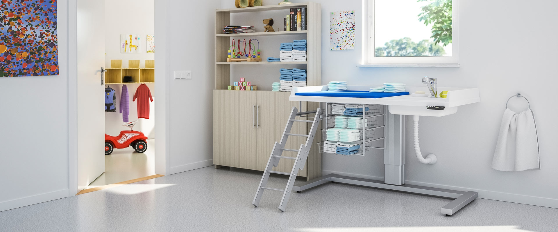 Height adjustable baby changing table 333-141